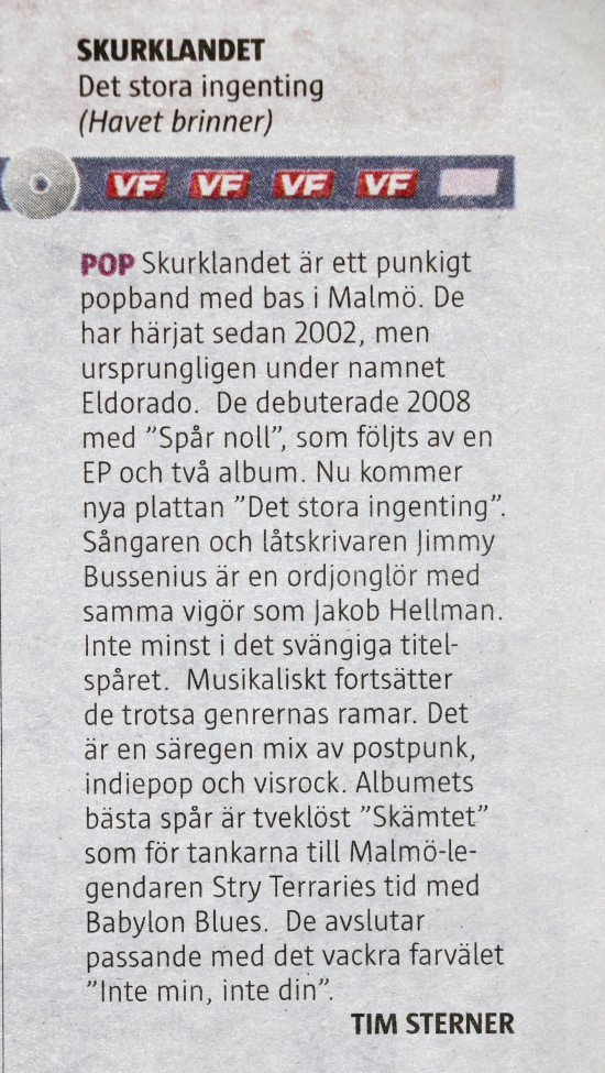 Skurklandet (Det stora ingenting) recension Värmlands Folkblad 2015