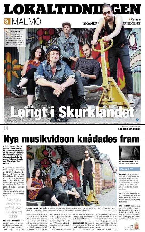 Skurklandet i Lokaltidningen Malmö 16-09-21, skrivet av Ida Eriksson